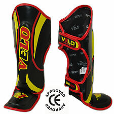 VELO Kids Shin Pads Junior Muay Thai MMA Shin Guards Instep Leg Foot Protective