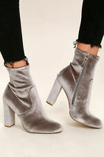 NIB STEVE MADDEN EDIT VELVET BOOTIES GREY SUEDE