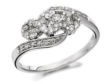 F. Hinds Womens Jewellery 9ct White Gold Diamond Trilogy Crossover Ring - 0.5ct