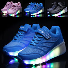 UK LED Light UP Wheel Shoes Kids Girls Boys Roller Skates Sneakers Trainers COOL