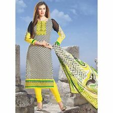 Bollywood Pakistani Indian Anarkali Salwar Kameez Yellow Printed Cotton Churidar