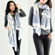 New Women Lady Blue And White Porcelain Chiffon Long Soft Scarf Wrap Shawl Stole
