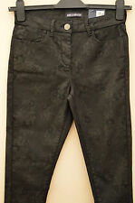 New M&S Black Floral Leather Look Ankle Grazer Leggings/Trousers Sz UK 10