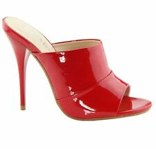 New Red Patent High Heel Slide Mule Stiletto Open Toe Women's Dress Sandals
