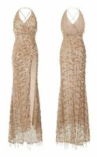 NUDE GOLD FRINGE TASSEL SEQUIN FISHTAIL THIGH SLIT  MAXI GATSBY PARTY DRESS 6-12