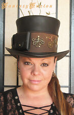 Steampunk Hat Octopus Sea Traveller Industrial Gear Leather HIGH Top Hat Pockets