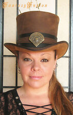Steampunk Hat Victorian Classy Hunter Lion Crest Leather HIGH Top Hat 2 Tones