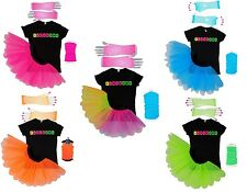 I LOVE 80S FANCY DRESS NEON TUTU SKIRT 80'S HEN PARTY T-SHIRT SET LEGWARMERS