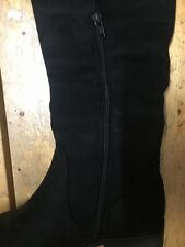Black Suede (Faux) Over The Knee Flat Boot Inside Zip   (orlas)
