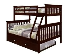 TWIN OVER FULL BUNK BED W/ DRAWERS, TRUNDLE OR TENT OPTION - CAPPUCCINO