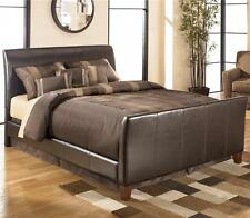 Leather Sleigh Bed Frame 4FT6 Double Bed - Mattresses available Brown Or Black
