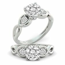 Diamond Engagement Ring Round Cut Natural GIA Certified 14k White Gold 1.30 tcw