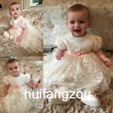 Baptism Dresses for Girls Vintage Infant Baby Ivory White Christening Gown 0-18M