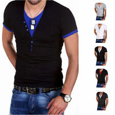 Mens T-Shirt Short Sleeve V-Neck Solid Casual Slim Fit T-shirts Cotton 6Colors 9