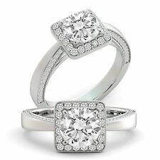 Diamond GIA Certified Round Cut Natural Engagement Ring 18k White Gold 2.05 tcw