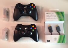 Lot of 2 New Official  OEM Microsoft XBOX 360 Wireless Controllers  & Xbox HDMI