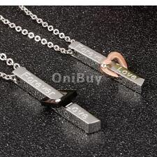 Forever Love 316L Stainless Steel Couples Pendant Necklace for Hers His Gifts