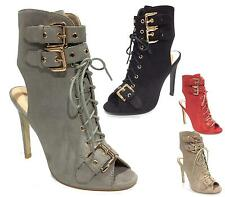 WOMENS FAUX SUEDE LACE UP  ZIP HIGH HEEL PEEP TOE SANDAL PARTY ANKLE SHOES 3-8