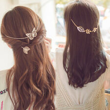 Fashion Women Gold Plated Leaf Butterfly Hair Chain Headband Hairpin Accessories