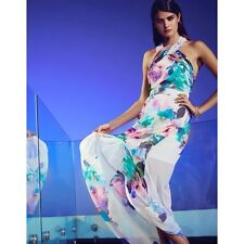 Lipsy Blue Pink Floral Beaded Sequin Neck Maxi Dress  UK 6  12 18 rrp £75