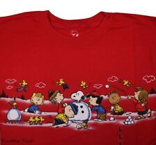Mens Peanuts Gang Snowball Fight T-Shirt Graphic Tee S/Slv Red NWT M/L/XL/2X