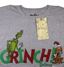 Mens Dr Seuss Grinch Who Stole Christmas Graphic T-Shirt Tee S/Slv Gray NWT M/L