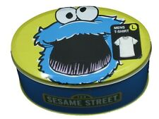 Mens Sesame Street Cookie Monster T-Shirt Tee in Gift Tin S/Slv Blue NWT X-Large