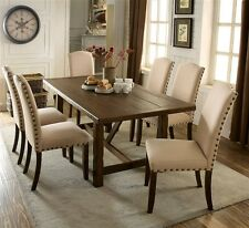 7pc Unique Base Dining Set Rustic Oak Finish Ivory Fabric & Button Tufted Chairs