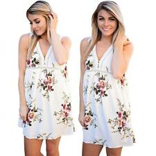 Summer Women'S Casual Loose Sleeveless VNeck Party Evening Mini Shirt Dress S9V5