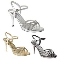 Ladies Evening Sandals Womens High Heel Diamante Wedding Prom Party Shoes Size