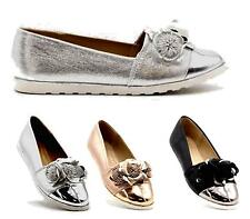 Womens Smart Rose Flats Slip On Loafers Low Wedge Ladies Office Work Shoes Size