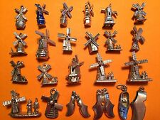 Vintage sterling silver charms: Dutch lucky WINDMILLS & CLOGS, Nuvo