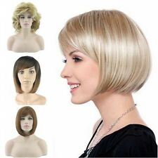 Girls Women's Full Bangs Wigs Short Wig Straight Wavy Bob Hair Cosplay Party 58e