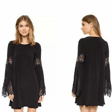 Women'S Boho Lace Beach Dress Flare Sleeve Hippie Boho Hollow Loose Mini Dress