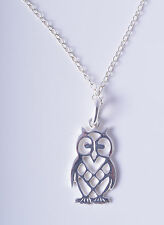 STERLING SILVER 925 WISE OLD OWL CHARM PENDANT CHAIN NECKLACE 925