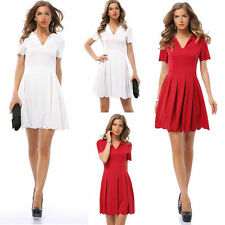 Women Sexy Short Sleeveless Party Dress Evening Cocktail Pleated Casual Dress //