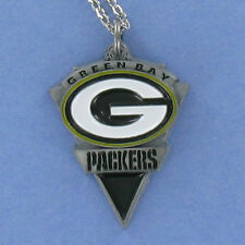 Green Bay Packers Necklace - Pewter Charm on Chain NFL Football Logo Cheese NEW