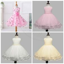 Flower Girl Princess Dress Kid Baby Pearls Christening Gown Wedding Pageant Tutu