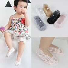 Baby Kids Non-Slip No Show Lace Socks Invisible Cotton Low Cut Ankle Socks S-L