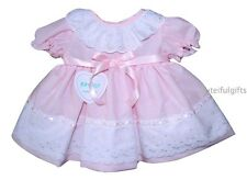Gorgeous Spanish Style Baby Girls Ribbon Slotted Broderie Anglaise Dress 0-18 M