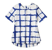 Adam Lippes for Target Womens' Crepe Blouse Painterly Plaid Blue White L  2XL