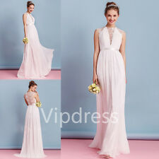 Elegant Chiffon Lace Beach Wedding Dresses Lace Applique Sleeveless Bridal Gowns