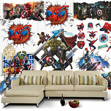 8 Styles Avengers Marvel Spiderman Iron Man Kid Bedroom Wall Stickers Home Decor