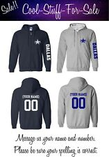 Dallas Cowboys Football Zip-Up Hooded Sweatshirt with Custom Name and Number