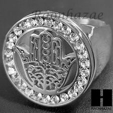 WOMEN 316L STAINLESS STEEL HAMSA HAND SILVER TONE CUBIC BLING RING 6-9 SB002S