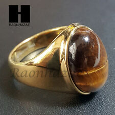 MENS 316L STAINLESS STEEL ARTIFICIAL TIGER EYE STONE GOLD TONE RING 8-12 SB007G