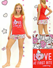 NWT Sanrio Hello Kitty 'LOVE at First Bite' shorts and top Pajama Set S,M,L,XL