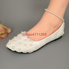 Wedding shoes white lace pearls ankle trap Bridal shoes flats/high heels/wedge