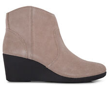 Crocs Women's Leigh Suede Wedge Leather Bootie - Tan
