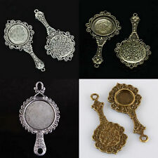 Tibetan Silver Bronze Picture Photo Frame Mirror Floral Flower Design Charm Bead